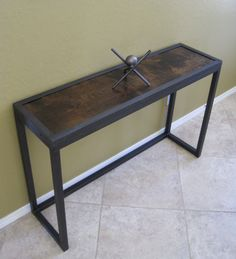 Modern Industrial Metal and Juniper Console Table, Sofa Table, Display Table, Urban Vintage Minimalist Design on Etsy, $495.00