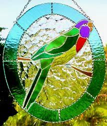 """Colorful Parrot Stained Glass Suncatcher - Tropical Decor - 10"""" x 12 ..."""