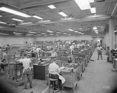 Skilled machinists and toolmakers use precision machinery to make experimental engine parts at the Aircraft Engine Research Laboratory of the National Advisory Committee for Aeronautics, Cleveland, Ohio in 1946. The facility is now known as John H. Glenn Research Center at Lewis Field.