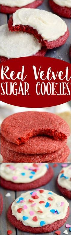 These Red Velvet Sugar Cookies. the delicious flavor of red velvet, buttery soft, and crisp on the outside. Topped with some of the best cream cheese frosting! Brownie Desserts, Mini Desserts, Just Desserts, Delicious Desserts, Yummy Food, Baking Brownies, Yummy Cookies, Sugar Cookies, Cookies Et Biscuits