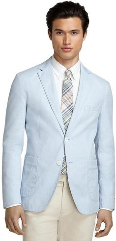 $119, Light Blue Cotton Blazer: Brooks Brothers Oxford Sport Coat. Sold by Brooks Brothers. Click for more info: https://lookastic.com/men/shop_items/57843/redirect