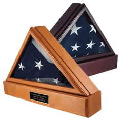 Officers Flag Display Case and Pedestal  The Officers Flag Display Case is a very impressive solid wood flag case at a great price. This beautiful case is one of the best selling cases and is available in a beautiful Oak or Cherry finish. This flag case is designed to hold a 5ft x 9.5ft flag and includes a matching pedestal.  Features:  Beveled glass front High quality crafted hinged lid for easy flag insertion Magnetic closure lid Wall mount included