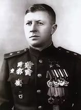 Colonel-General Rodimtsev Alexander Il`ich (March 8th, 1905 - April 13th, 1977), a Soviet military commander, a participant of the Civil (Spain), the Soviet-Finnish (1940) and the Great Patriotic (WWII in Russia) wars, the Hero of the Soviet Union (twice). Commanded of the 5th Airborne Brigade (later - the 87th Rifle Div.), the 87th (since 1942 - the 13th Guards) Rifle Division (1942-1943), the 32nd Guards Rifle Corps (1943-1945, the Prague offensive operation).