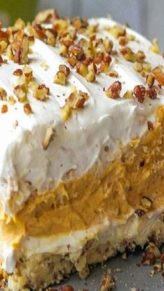 Pumpkin Delight Dessert ~ With a pecan layer, cream cheese layer, pumpkin and pudding layer and a Cool Whip layer on top Mini Desserts, Layered Desserts, Just Desserts, Delicious Desserts, Dessert Recipes, Potluck Desserts, Dessert Food, Health Desserts, Easy Fall Desserts