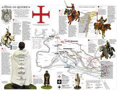 """""""Dios lo quiere"""", palabras del Papa Urbano II al predicar la Primera Cruzada.  Esta imagen muestra un breve resumen sobre las primeras tres cruzadas, además de un mapa que muestra las rutas de las ocho Cruzadas."""