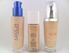 Drugstore foundations for dry skin from left to right: Rimmel Match Perfection Foundation, Revlon Nearly Naked Foundation and LOreal True Match Lumi/Lumi Magique Foundation.