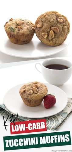 It's that time of year again, when gardens go crazy with zucchini and you need to find ways to use it up. These healthy and delicious Keto Zucchini Spice Muffins are perfect! Great with walnuts, pecans, or chocolate chips! Quick Keto Breakfast, Breakfast Recipes, Dessert Recipes, Lunch Recipes, Breakfast Ideas, Dinner Recipes, Zucchini Muffins, Low Carb Desserts, Low Carb Recipes