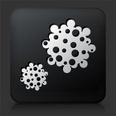 Black Square Button with Pollen Icon vector art illustration