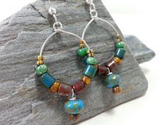 Multicolored Czech Glass / Hoop Earrings / by BellaJamesDesign, $20.00
