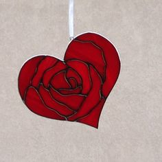 Stained Glass Red Rose Heart Valentine Suncatcher/Ornament by FoxStainedGlass on Etsy