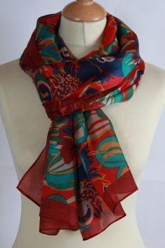 Chèche 100 % soie imprimé floral couleur rouge