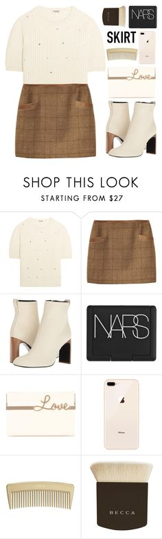 """""""💗"""" by pure-vnom ❤ liked on Polyvore featuring Miu Miu, Joules, rag & bone, NARS Cosmetics, Charlotte Olympia, Becca and skirt"""