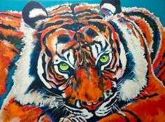 Tiger 1 metre 20 x 90cm Acrylic on stretched canvas.