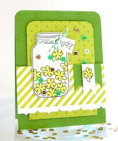 Shamrock Jar card #lawnfawn #denamidesign #sequins
