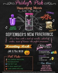 Pink Zebra Sprinkles-Haunting Musk is just in time for Halloween. This fragrance is a witch's brew with a dash of vanilla, a splash of amber and a twist of licorice.  Available September 1, 2015