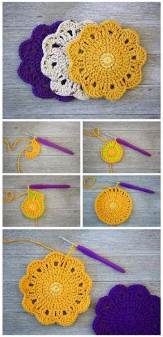 New Pictures Crochet coasters tutorial Thoughts Crochet Coaster Tutorial, Crochet Placemats, Crochet Doilies, Crochet Yarn, Easy Crochet, Crochet Stitches, Crochet Hooks, Free Crochet, Small Crochet Gifts, Crochet Round