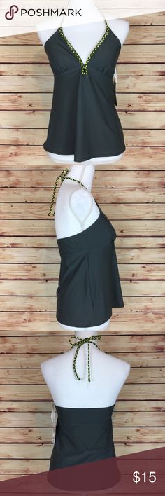 """NWT Converse Gray Halter Tankini Swim Top Medium Converse tankini top. Gray with yellow detailing. Halter tie. V neck. Medium.  New with tags and no flaws.  Measurements are approximately: 27"""" bust, 32"""" waist, and 14"""" length (armpit to hem).  No trades. All items come from a pet friendly, smoke free home. Bundle to save! Converse Swim"""