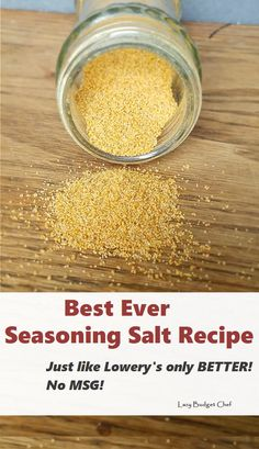The Best Ever Seasoned Salt Recipe! How to make taco seasoning with spices you already have. Tastes like Lowry's only better! Make Taco Seasoning, Homemade Seasoning Salt, Seasoning Mixes, No Salt Seasoning, Salad Seasoning Recipe, Adobo Seasoning, Homemade Dry Mixes, Homemade Spices, Deserts