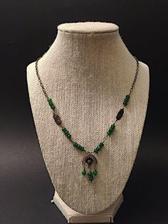 Dark green wire wrapping brass necklace