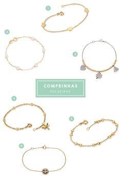 6 pulseiras infantis de ouro