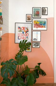 Colorful Gallery Wall with a Warm, Sunset Mural Art Decor, Decoration, Block Wall, Home Room Design, Diy Wall, Wall Colors, Interior Inspiration, Gallery Wall, Bedroom Decor