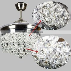 42inch Retractable Crystal LED Ceiling Fan With Remote