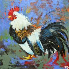 Rooster 537 20x20 inch original oil painting by Roz by RozArt, $185.00
