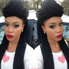 Beautiful braids and makeup. Twist Hairstyles, African Hairstyles, Black Women Hairstyles, Summer Hairstyles, Trendy Hairstyles, Marley Twists, Havana Twists, Havana Braids, Black Power