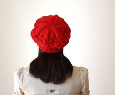 Knit Hat for Women  Red accessories  Adult knit by SENNURSASA, $28.00