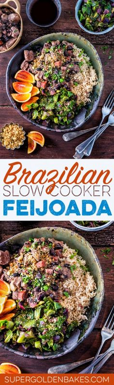 Slow cooker Brazilian feijoada – rich pork stew with black beans served with spring greens, orange wedges and brown rice.