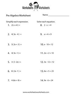 Printables Algebra Review Worksheet algebra worksheets free and on pinterest pre review worksheet printable educational worksheet