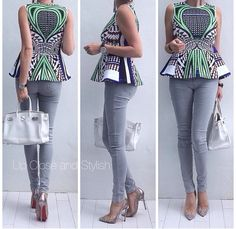 Peplum over bump - smart casual maternity look. ~African fashion, Ankara…