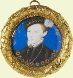 Edward VI (1537-53) c.1600 by Nicholas Hilliard; Presented to Charles I, recovered after the Restoration.   Edward VI, son of Queen Jane Seymour, postumous miniature by Nicholas Hilliard