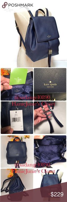 """KATE SPADE WILDER GREY ST FRENCHNAVY BACKPACK Brand new and 100% authentic.                                        Color: Frenchnavy  Clocktower pebbled leather Dual leather Adjustable strap  Tassel drawstring 14 Kt Gold plated hardware Large interior zip pocket Kate Spade signature lining Approximately 11.5""""W x 10.5""""H x 5""""DNO TRADE kate spade Bags Backpacks"""