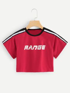 Casual Letter and Striped Slim Fit Round Neck Short Sleeve Pullovers Red Crop Length Letter Print Stripe Tape Crop Tee Teenage Girl Outfits, Teenager Outfits, Korean Fashion Kpop, Girl Fashion, Fashion Outfits, Cute Crop Tops, Tee Shirts, Tees, Outfit Goals