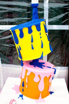 Great cake at an Art Party!   See more party ideas at CatchMyParty.com!  #partyideas #art