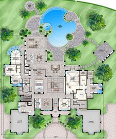 Luxury Plan: Square Feet, 5 Bedrooms, Bathrooms - - House Plans, Home Plan Designs, Floor Plans and Blueprints Luxury House Plans, Best House Plans, Dream House Plans, Luxury Floor Plans, 6 Bedroom House Plans, Bedroom Layouts, House Layouts, Bedroom Ideas, Bedroom Decor