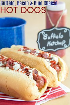 Buffalo, Blue Cheese, and Bacon Hot Dogs - add a spicy kick and a ton of flavor to the classic hot dog when you load it up with homemade buffalo ketchup and delicious toppings. Your barbecue will never be the same! Bacon Hot Dogs, Beef Hot Dogs, Burger Dogs, Burgers, Buffalo Recipe, Hot Dog Recipes, Sandwich Recipes, Sandwiches, Gluten Free Recipes For Dinner