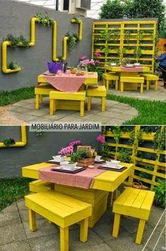 Ideas Pallet Furniture Outdoor Patio Paint For 2019 Pallet Garden Furniture, Furniture Projects, Outdoor Furniture Sets, Outdoor Decor, Outdoor Pallet, Furniture Decor, Modern Furniture, Playhouse Furniture, Palette Furniture