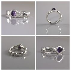 Sterling silver and Amethyst ring with a filework band