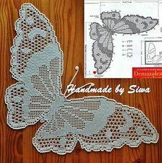 Free Crochet Butterfly Patterns - Her Crochet Crochet Butterfly Pattern, Crochet Doily Diagram, Filet Crochet Charts, Crochet Doily Patterns, Thread Crochet, Crochet Motif, Crochet Designs, Crochet Doilies, Crochet Flowers