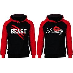 Couple Outfit red New Beast and Beauty Two-tone Black / Red Raglan Hoodie New Beast and Beauty Two-tone Black / Red Raglan Hoodie Cute Couple Hoodies, Matching Hoodies For Couples, Disney Couple Shirts, King And Queen Sweatshirts, Disney Sweatshirts, Cute Swag Outfits, Couple Outfits, Family Shirts, Shirt Designs