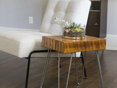 Reclaimed Wood Table with Hairpin Legs  This table is made from reclaimed wood that is nearly 100 years old! It is a one of kind piece that can be used as a coffee table, end table, night stand, etc.
