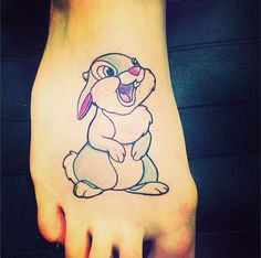 If you can't say something nice… don't say nothing at all! Thumper tattoo by Carly. #inked #inkedmag #tattoo #thumper #foot #cartoon #idea #cute #feet