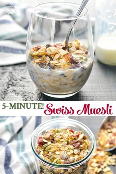 Swiss Muesli Recipe - Lisa Klinger - Swiss Muesli Recipe Try stirring together a batch of this no-bake Swiss Muesli Recipe for an easy and healthy breakfast or snack that's ready when you need it! Clean Eating Breakfast, Breakfast Snacks, Healthy Breakfast Recipes, Clean Eating Snacks, Detox Breakfast, Breakfast Ideas, Breakfast Porridge, Healthy Recipes, Clean Eating Recipes