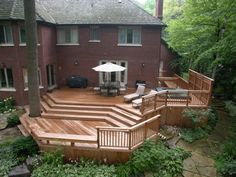 54 Beautiful Top Multilevel Decks Design For Your Backyard. A deck may be an attractive transition between the indoor and outdoor spaces, especially if you are in possession of a screened-in porch. Hot Tub Backyard, Backyard Pergola, Pergola Kits, Pergola Ideas, Porch Ideas, Patio Deck Designs, Patio Design, Exterior Design, Fire Pit Layout