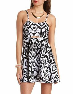 Cut-Out Ikat Print Skater Dress: Charlotte Russe