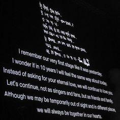 """BIGBANG O.TO.10 EL FINAL EN HONG KONG Palabras de GD para las VIP's """"Recuerdo nuestra primera etapa como si fuera ayer. Me pregunto si en 10 años me sentiré de la misma manera que hoy. En vez de pedir su amor eterno, continuaremos amándote. Continuemos no como cantantes y fans, sino como amigos y familia. Aunque quizás temporalmente fuera de la vista y en diferentes lugares, estaremos siempre juntos en nuestros corazones. Fuente: Pagina de Facebook """"Big Bang 우리는 빅뱅을 사랑"""" *Admi: Jaeblue*"""