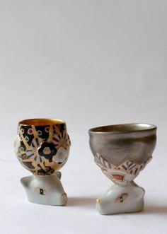 """Modern Remains"" by Ueba Kasumi. Glazed porcelain, over glazed painting #yunomi #tableware #Japan"