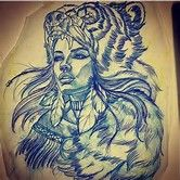 Image result for Girl with Bear Headdress Tattoo